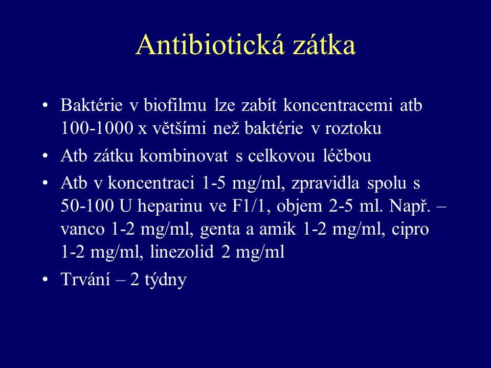 Antibiotická zátka Baktérie v biofilmu lze zabít koncentracemi atb 100-1000 x většími než baktérie v roztoku Atb zátku kombinovat s celkovou léčbou At