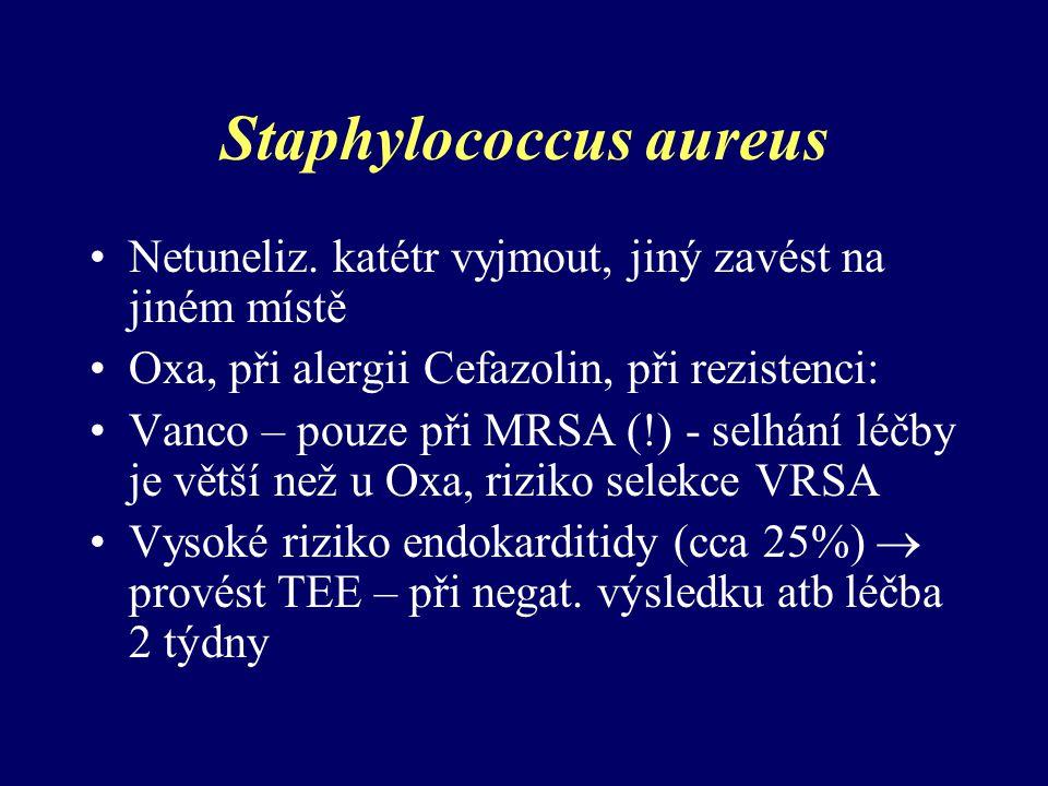 Staphylococcus aureus Netuneliz. katétr vyjmout, jiný zavést na jiném místě Oxa, při alergii Cefazolin, při rezistenci: Vanco – pouze při MRSA (!) - s