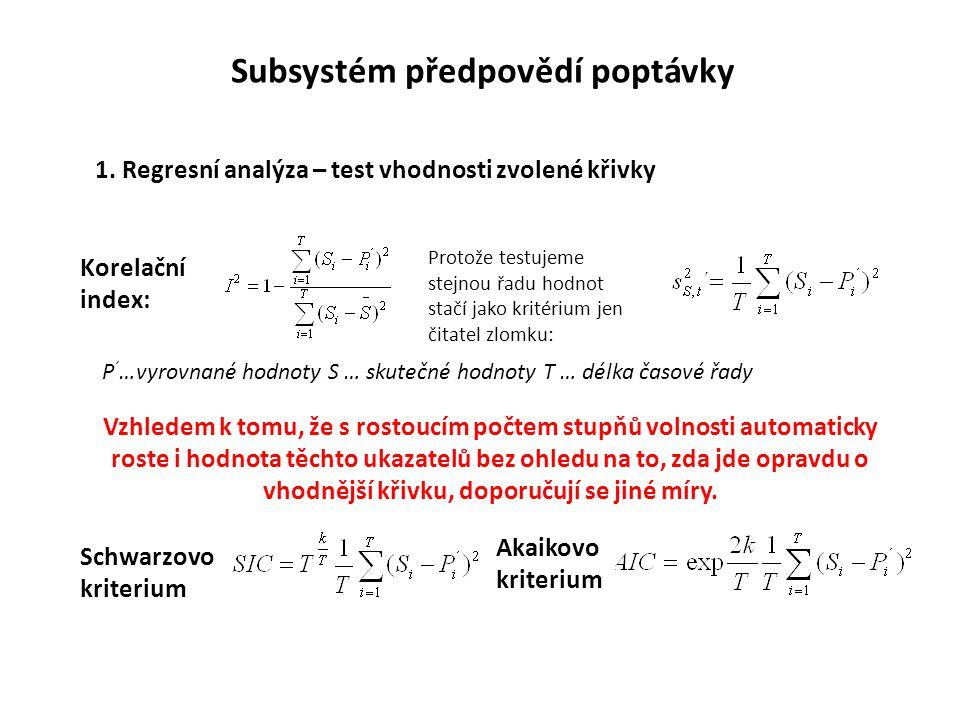 1. Regresní analýza – test vhodnosti zvolené křivky Korelační index: Protože testujeme stejnou řadu hodnot stačí jako kritérium jen čitatel zlomku: P