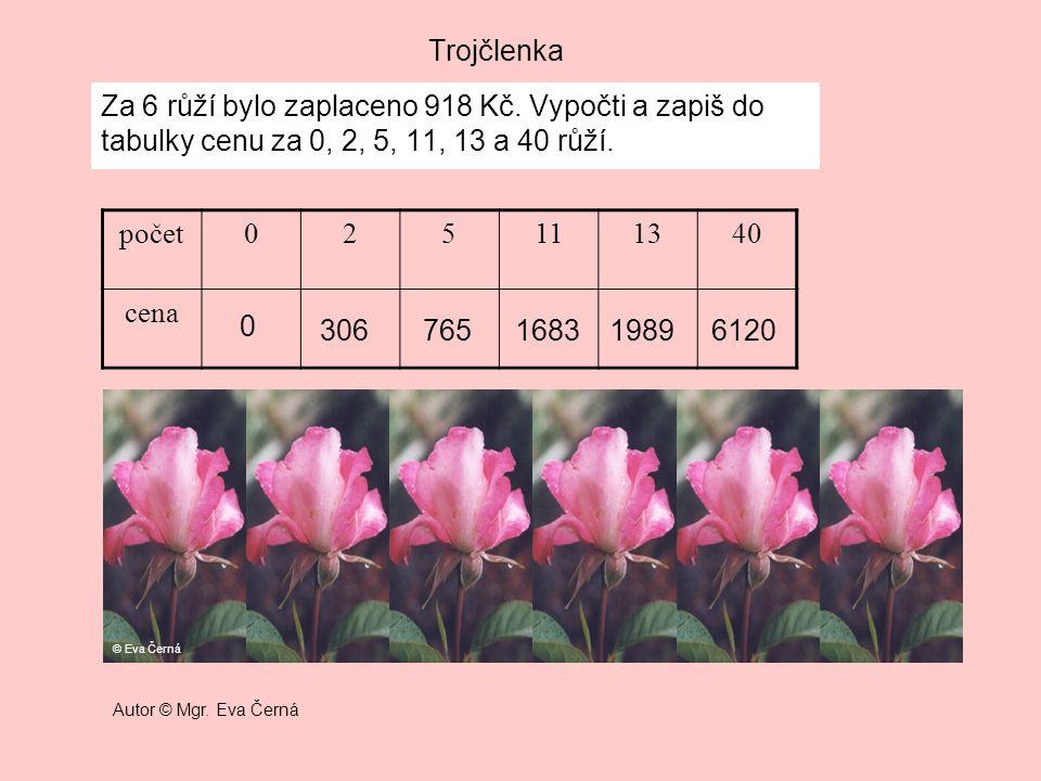 Trojčlenka Za 6 růží bylo zaplaceno 918 Kč. Vypočti a zapiš do tabulky cenu za 0, 2, 5, 11, 13 a 40 růží. počet025111340 cena 0 306765168319896120 © E