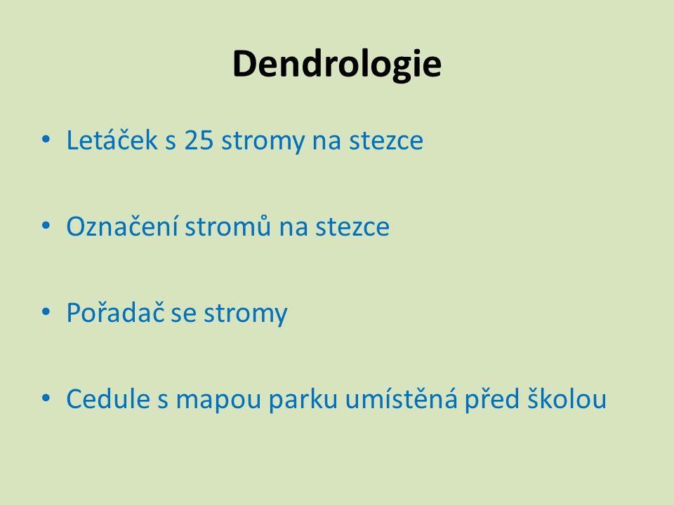 Dendrologie Letáček s 25 stromy na stezce Označení stromů na stezce Pořadač se stromy Cedule s mapou parku umístěná před školou