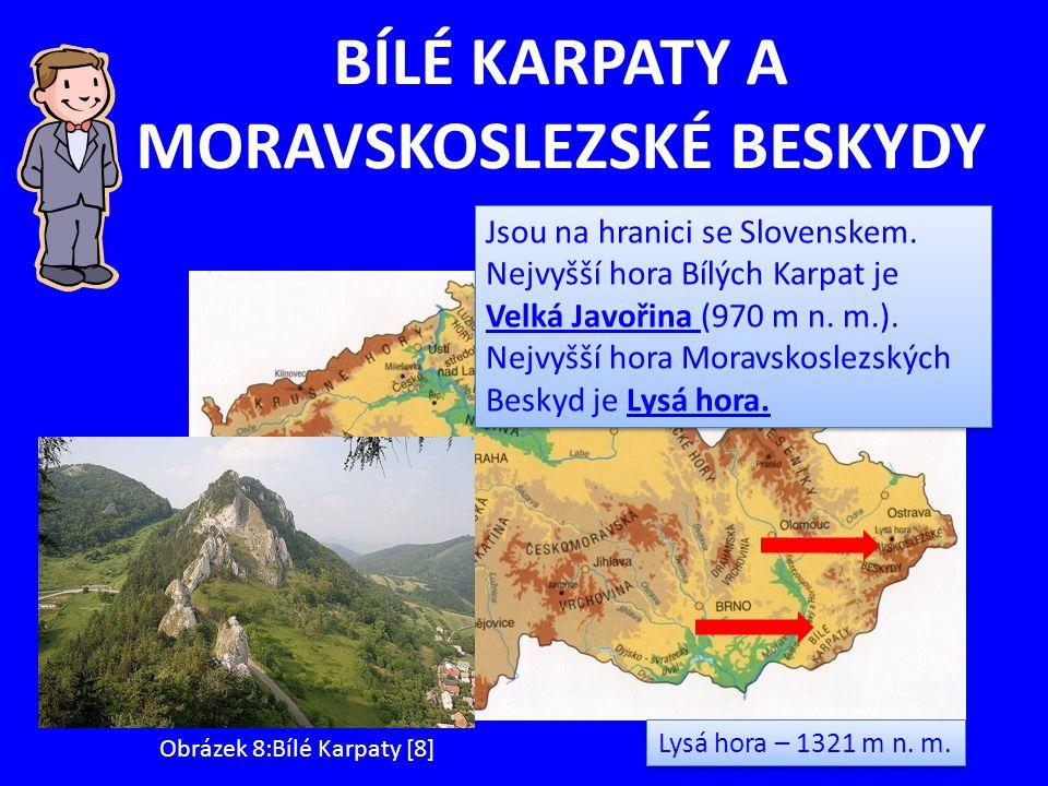 BÍLÉ KARPATY A MORAVSKOSLEZSKÉ BESKYDY Lysá hora – 1321 m n. m. Obrázek 8:Bílé Karpaty [8] Jsou na hranici se Slovenskem. Nejvyšší hora Bílých Karpat