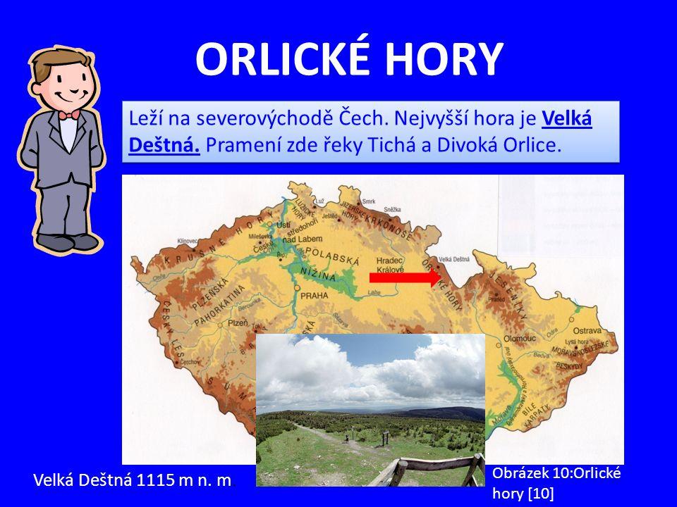ORLICKÉ HORY Velká Deštná 1115 m n. m. Obrázek 10:Orlické hory [10] Leží na severovýchodě Čech. Nejvyšší hora je Velká Deštná. Pramení zde řeky Tichá