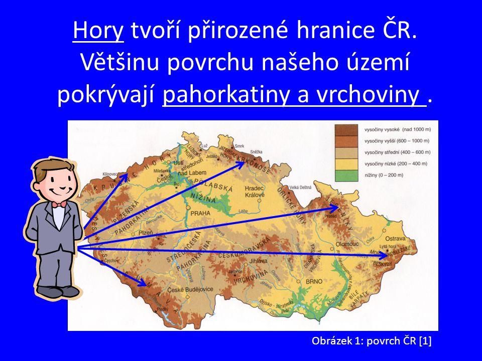Hory tvoří přirozené hranice ČR. Většinu povrchu našeho území pokrývají pahorkatiny a vrchoviny. Obrázek 1: povrch ČR [1]
