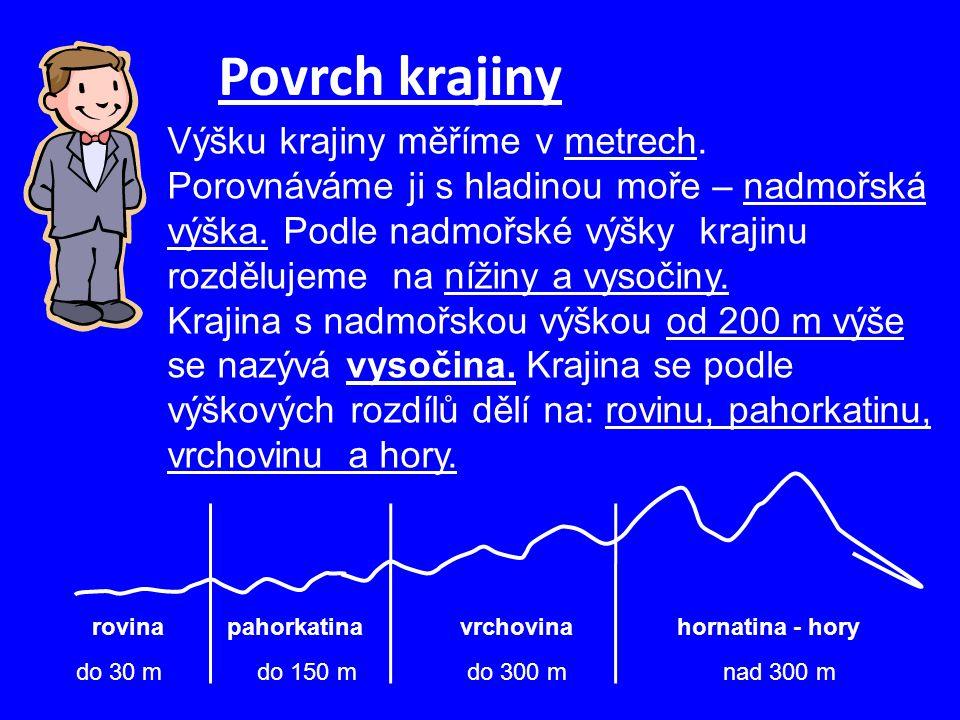 Povrch krajiny Výšku krajiny měříme v metrech. Porovnáváme ji s hladinou moře – nadmořská výška. Podle nadmořské výšky krajinu rozdělujeme na nížiny a