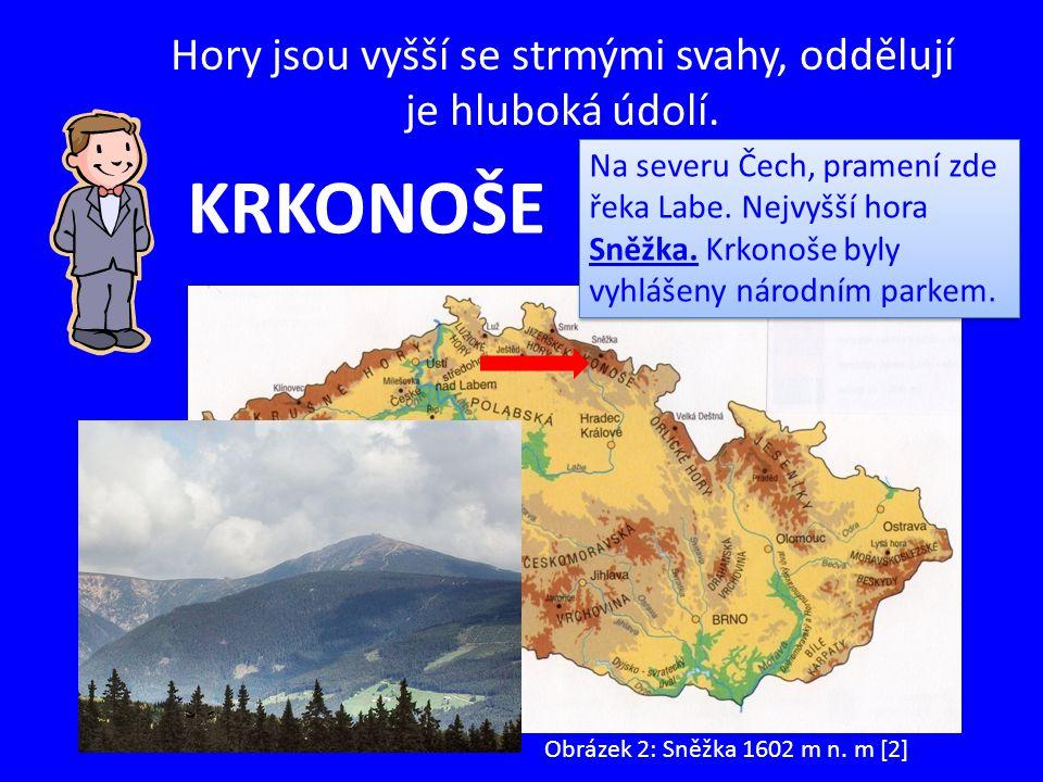 Hory jsou vyšší se strmými svahy, oddělují je hluboká údolí. KRKONOŠE Na severu Čech, pramení zde řeka Labe. Nejvyšší hora Sněžka. Krkonoše byly vyhlá