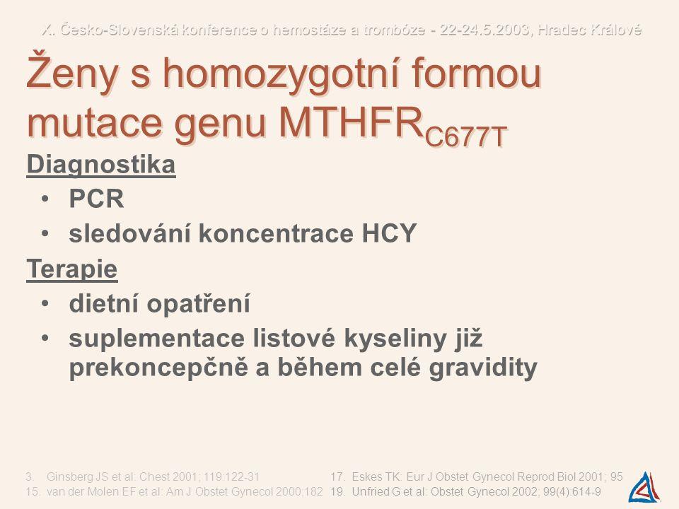 Diagnostika PCR sledování koncentrace HCY Terapie dietní opatření suplementace listové kyseliny již prekoncepčně a během celé gravidity 3.Ginsberg JS