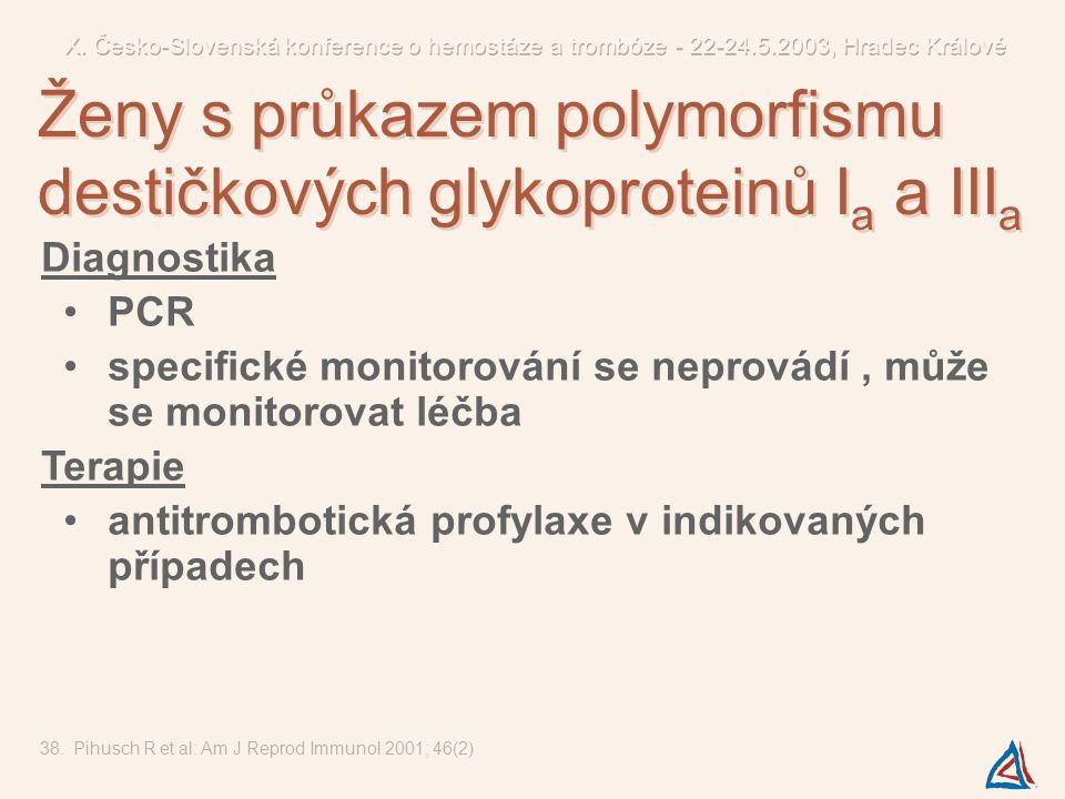 Diagnostika PCR specifické monitorování se neprovádí, může se monitorovat léčba Terapie antitrombotická profylaxe v indikovaných případech 38.Pihusch