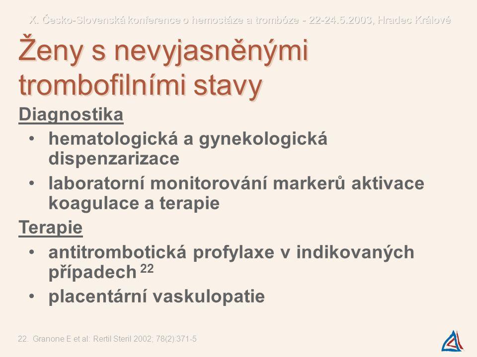 Diagnostika hematologická a gynekologická dispenzarizace laboratorní monitorování markerů aktivace koagulace a terapie Terapie antitrombotická profyla