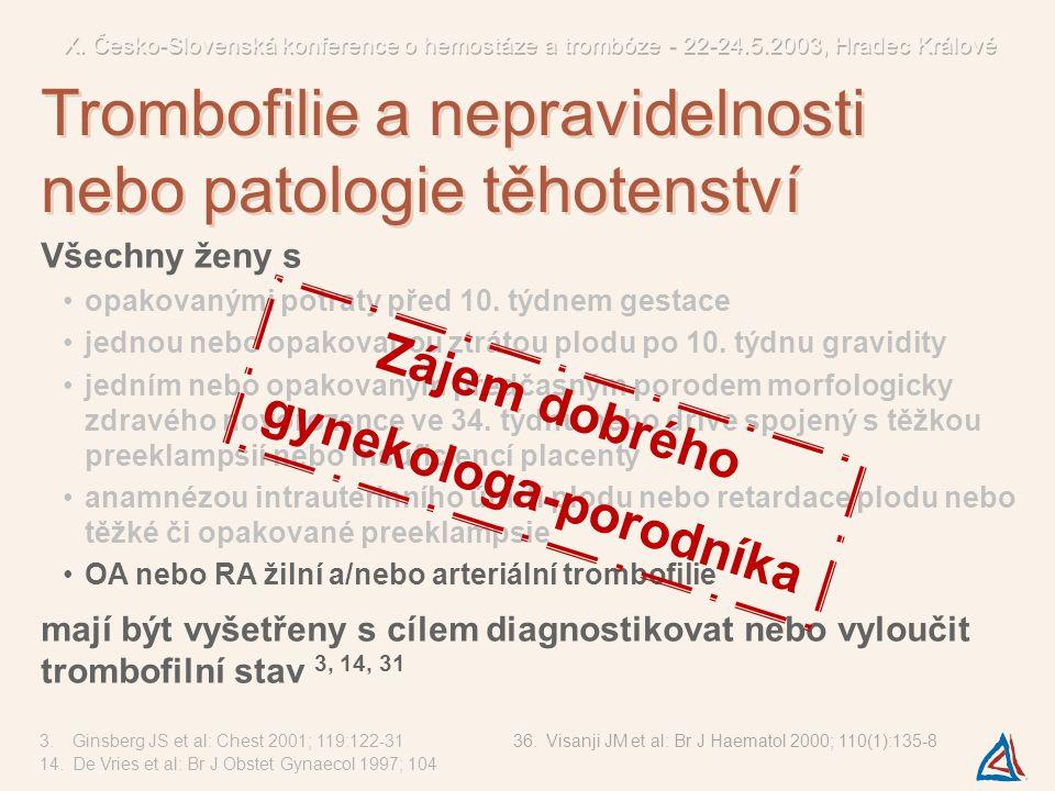 Trombofilní stavy asociované se ztrátami plodu… 3,16,27,28,30,31,32 APC-R s FVL nebo bez ní antifosfolipidové protilátky mutace genu FII G20210A hyperhomocysteinemie (mutace genu MTHFR C677T ) defekty inhibitorů (antitrombin, protein C a S) 3.Ginsberg JS et al: Chest 2001; 119:122-31 16.Raziel A et al: Am J Reprod Immunol 2001; 45:342-7 27.Reznikoff-E MF et al: BJOG 2001; 108(12):1251-4 28.Foka ZJ et al: Hum Reprod 2000; 15(2):458-62 Diagnostika a interpretace výsledků laboratorních vyšetření zvýšení FVIII defekt FXII hyperfibrinogenemie dysfibrinogenemie zvýšení FVIII defekt FXII hyperfibrinogenemie dysfibrinogenemie polymorfismus PAI-1 4G/5G 20,33-36 polymorfismus Gp I a polymorfismus Gp III a polymorfismus ACE 37 polymorfismus PAI-1 4G/5G 20,33-36 polymorfismus Gp I a polymorfismus Gp III a polymorfismus ACE 37 defekt HC-II defekt plazminogenu zvýšení PAI-I defekt alfa-2-antiplazminu defekt HC-II defekt plazminogenu zvýšení PAI-I defekt alfa-2-antiplazminu