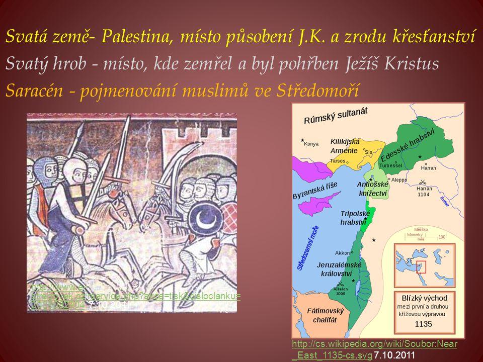 Svatá země- Palestina, místo působení J.K. a zrodu křesťanství Svatý hrob - místo, kde zemřel a byl pohřben Ježíš Kristus Saracén - pojmenování muslim