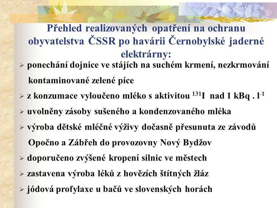 Přehled realizovaných opatření na ochranu obyvatelstva ČSSR po havárii Černobylské jaderné elektrárny:  ponechání dojnice ve stájích na suchém krmení