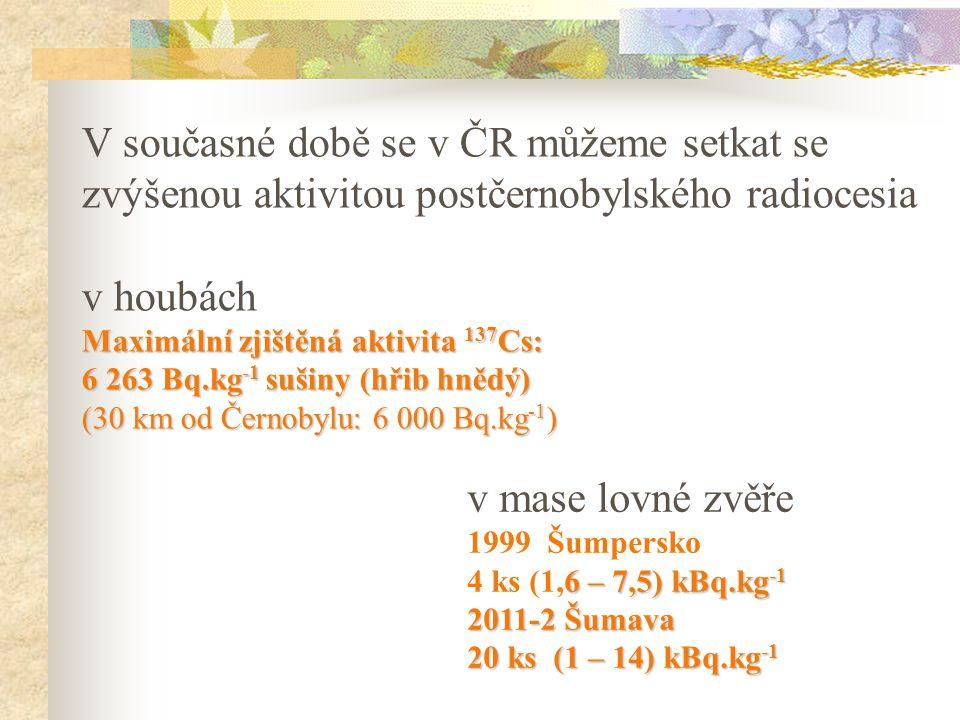 V současné době se v ČR můžeme setkat se zvýšenou aktivitou postčernobylského radiocesia v houbách Maximální zjištěná aktivita 137 Cs: 6 263 Bq.kg -1