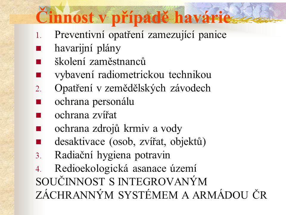 Činnost v případě havárie 1. Preventivní opatření zamezující panice havarijní plány školení zaměstnanců vybavení radiometrickou technikou 2. Opatření