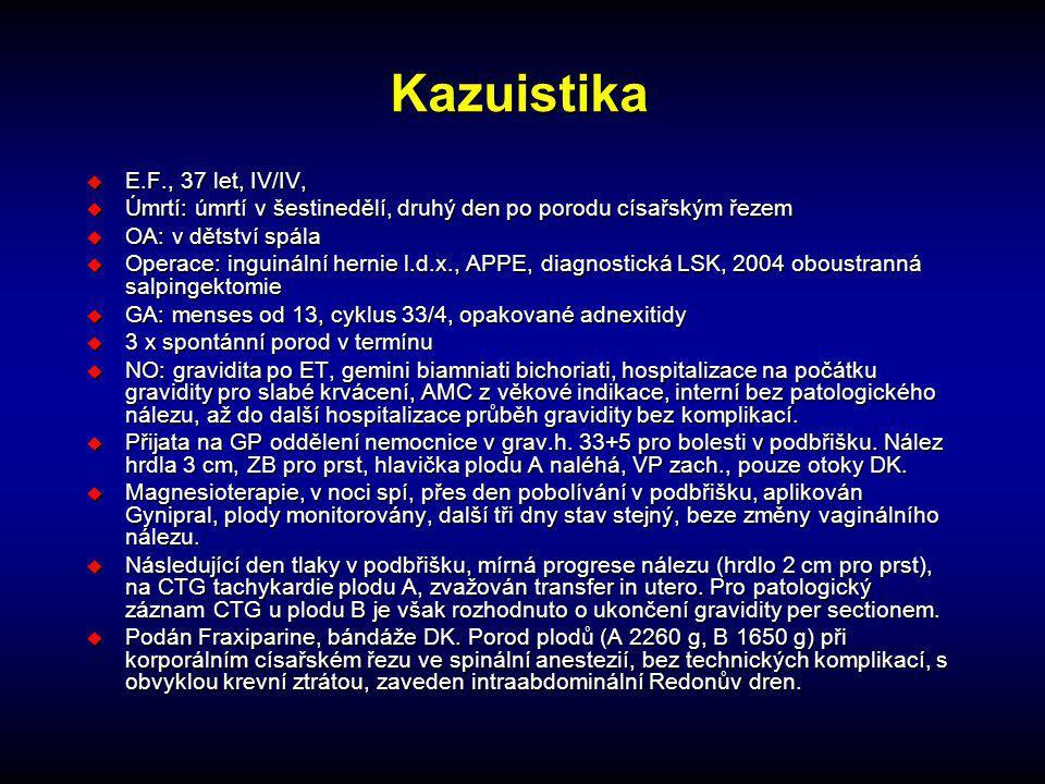 Kazuistika u E.F., 37 let, IV/IV, u Úmrtí: úmrtí v šestinedělí, druhý den po porodu císařským řezem u OA: v dětství spála u Operace: inguinální hernie