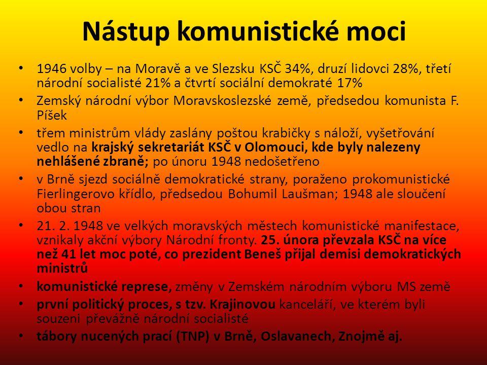 Nástup komunistické moci 1946 volby – na Moravě a ve Slezsku KSČ 34%, druzí lidovci 28%, třetí národní socialisté 21% a čtvrtí sociální demokraté 17%