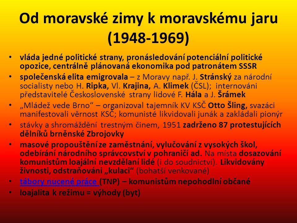 Od moravské zimy k moravskému jaru (1948-1969) vláda jedné politické strany, pronásledování potenciální politické opozice, centrálně plánovaná ekonomi