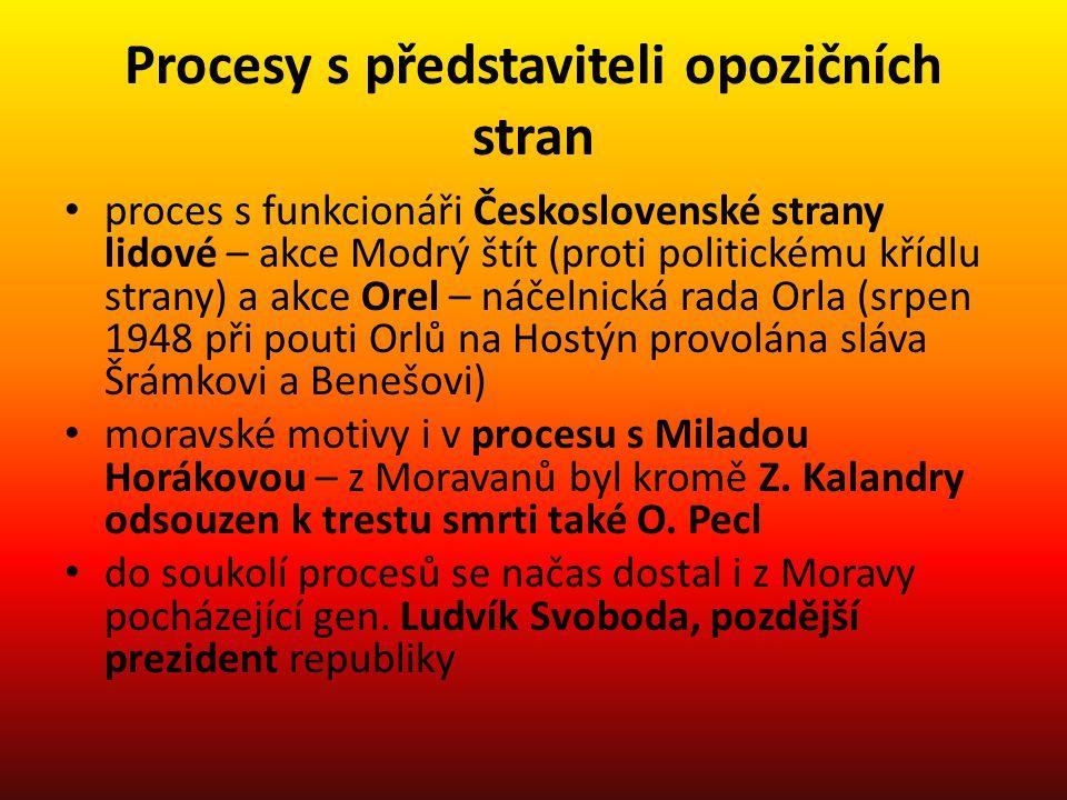 Procesy s představiteli opozičních stran proces s funkcionáři Československé strany lidové – akce Modrý štít (proti politickému křídlu strany) a akce