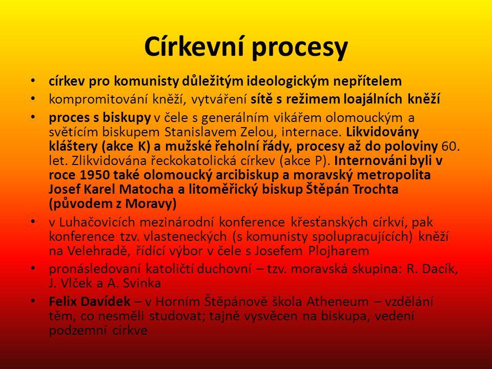 Církevní procesy církev pro komunisty důležitým ideologickým nepřítelem kompromitování kněží, vytváření sítě s režimem loajálních kněží proces s bisku