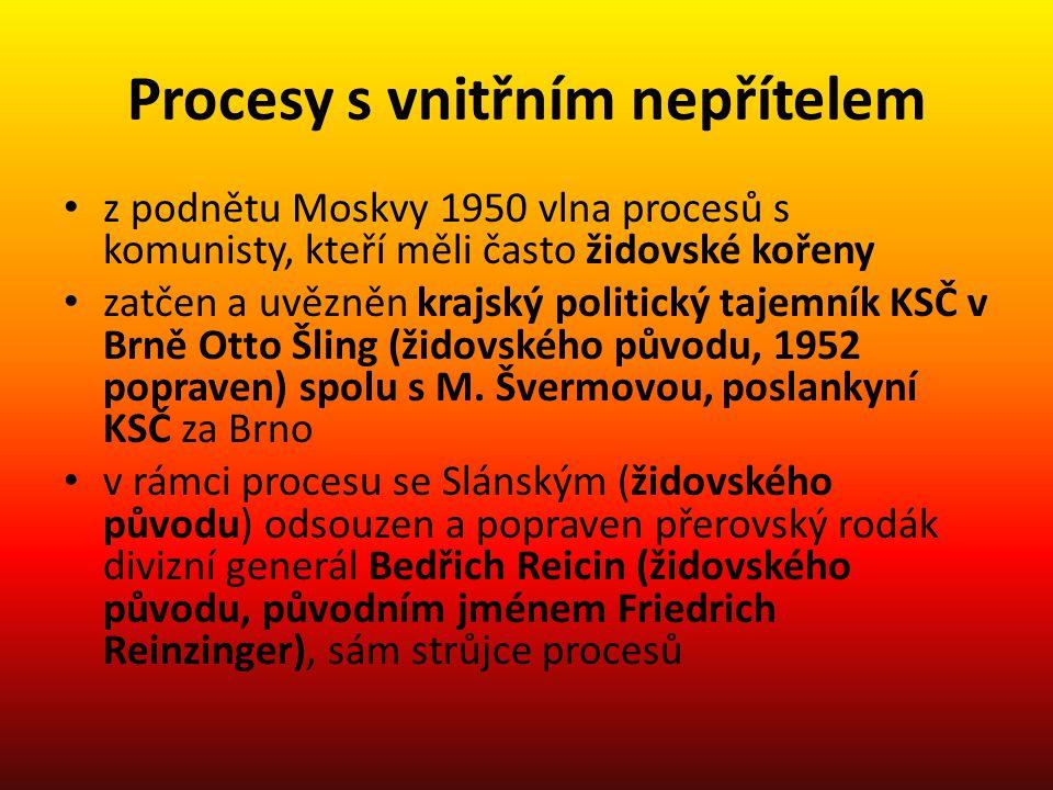 Procesy s vnitřním nepřítelem z podnětu Moskvy 1950 vlna procesů s komunisty, kteří měli často židovské kořeny zatčen a uvězněn krajský politický taje