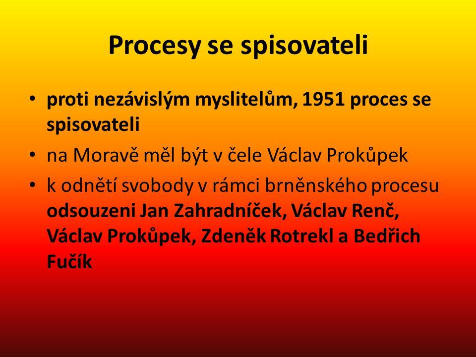 Procesy se spisovateli proti nezávislým myslitelům, 1951 proces se spisovateli na Moravě měl být v čele Václav Prokůpek k odnětí svobody v rámci brněn