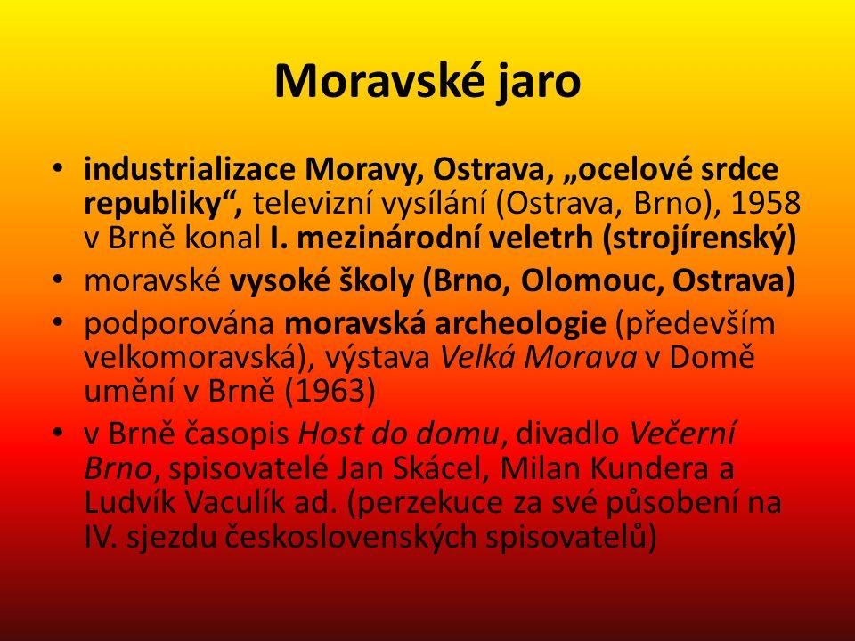 """Moravské jaro industrializace Moravy, Ostrava, """"ocelové srdce republiky"""", televizní vysílání (Ostrava, Brno), 1958 v Brně konal I. mezinárodní veletrh"""