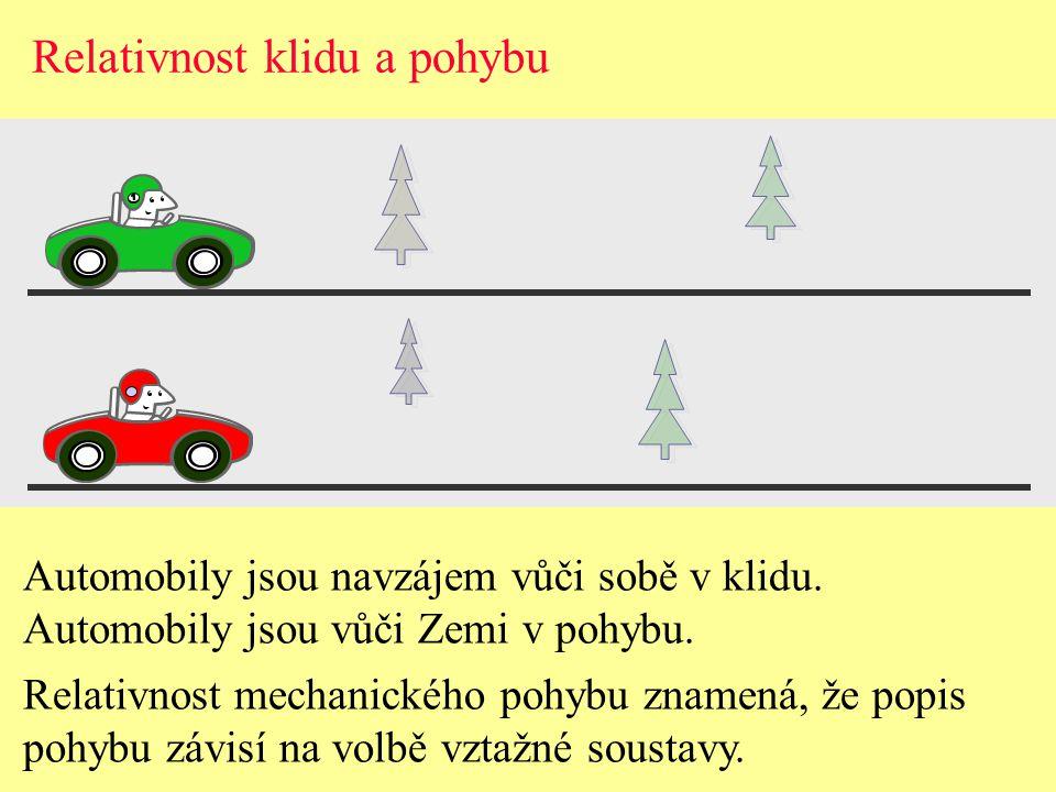 Relativnost klidu a pohybu Automobily jsou navzájem vůči sobě v klidu.