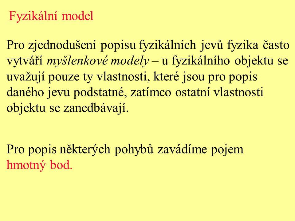 Hmotný bod - je model tělesa, u něhož uvažujeme jeho hmotnost, ale jeho rozměry se zanedbáváme.