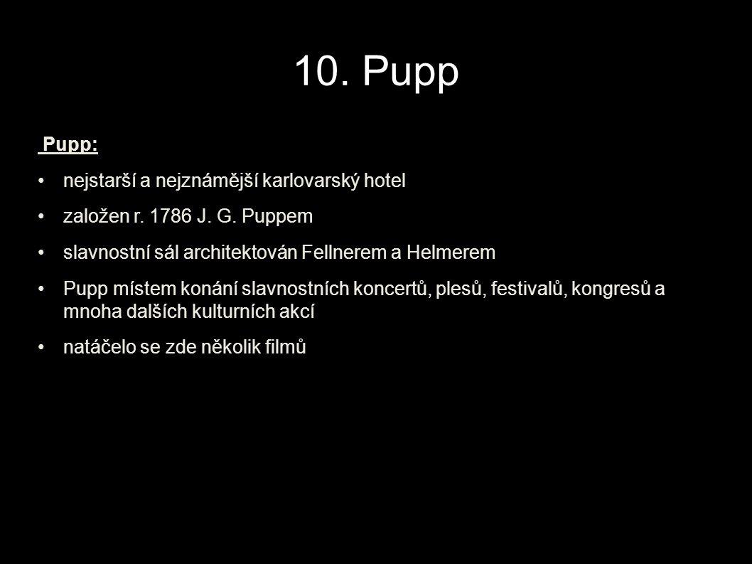 10.Pupp Pupp: nejstarší a nejznámější karlovarský hotel založen r.