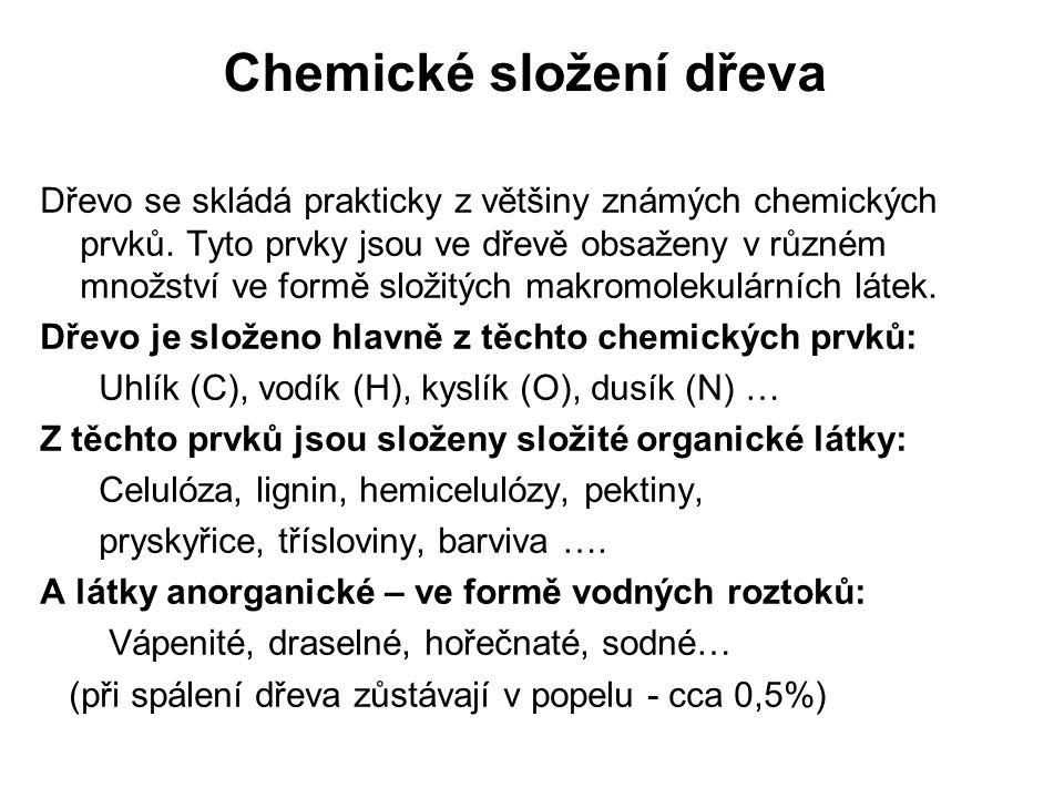 Chemické složení dřeva-buněčné dutiny II Třísloviny - látky rozpustné ve vodě nebo alkoholu.