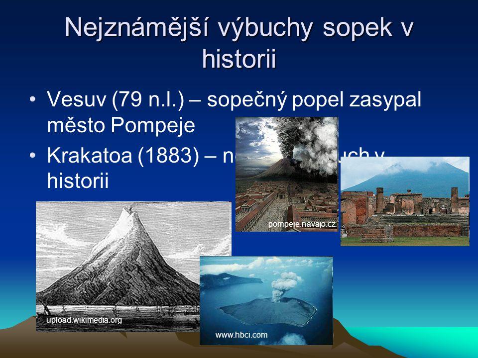 Nejznámější výbuchy sopek v historii Vesuv (79 n.l.) – sopečný popel zasypal město Pompeje Krakatoa (1883) – největší výbuch v historii pompeje.navajo.cz upload.wikimedia.org www.hbci.com