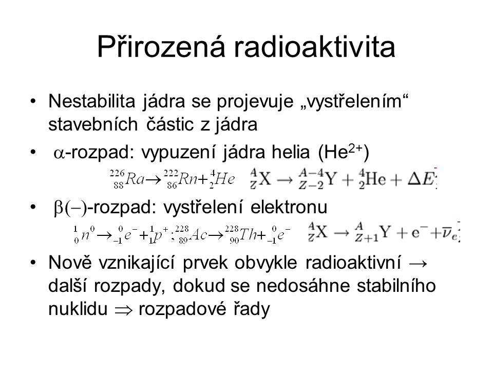 """Přirozená radioaktivita Nestabilita jádra se projevuje """"vystřelením"""" stavebních částic z jádra  -rozpad: vypuzení jádra helia (He 2+ )  -rozpad:"""