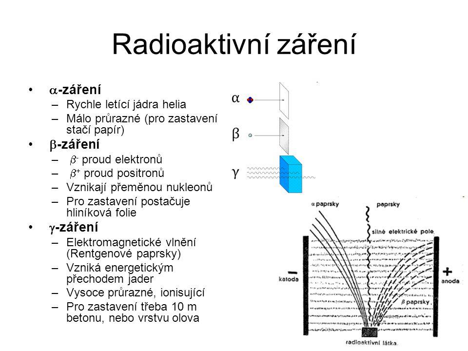 Radioaktivní záření  -záření –Rychle letící jádra helia –Málo průrazné (pro zastavení stačí papír)  -záření –  - proud elektronů –  + proud positr