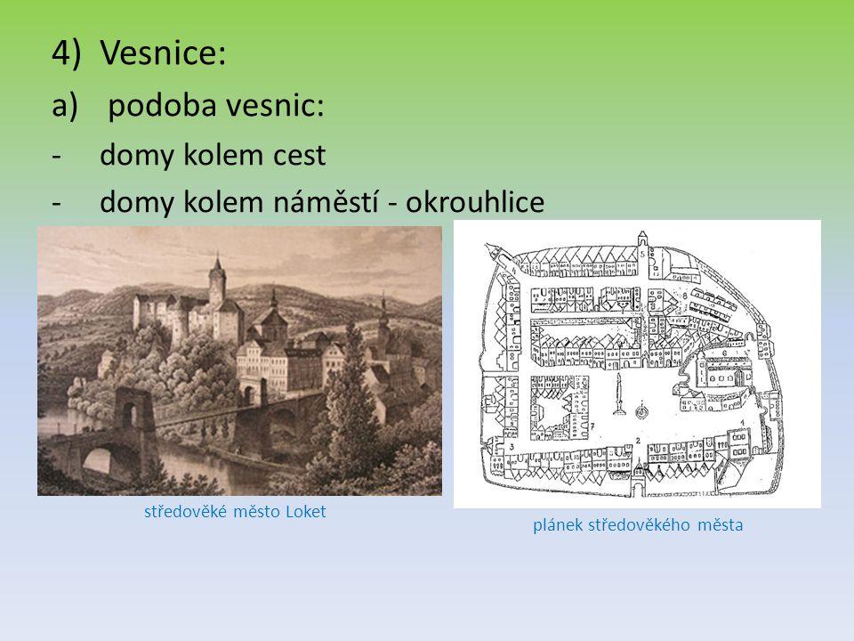 4)Vesnice: a) podoba vesnic: -d-domy kolem cest -d-domy kolem náměstí - okrouhlice středověké město Loket plánek středověkého města