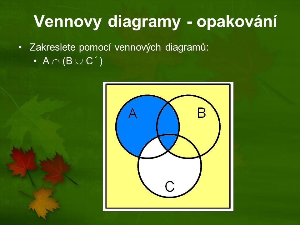 Vennovy diagramy - opakování Zakreslete pomocí vennových diagramů: A  (B  C)´ (A  B)  C A  (B´  C) A´  B´  C´