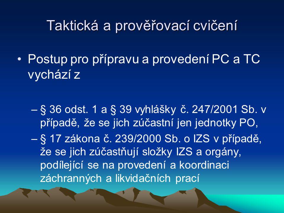 Taktická a prověřovací cvičení Postup pro přípravu a provedení PC a TC vychází z –§ 36 odst.