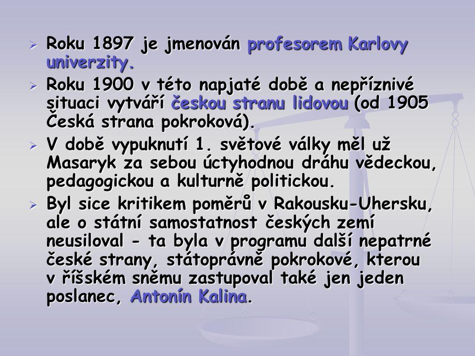 RRRRoku 1897 je jmenován profesorem Karlovy univerzity. RRRRoku 1900 v této napjaté době a nepříznivé situaci vytváří českou stranu lidovou (o