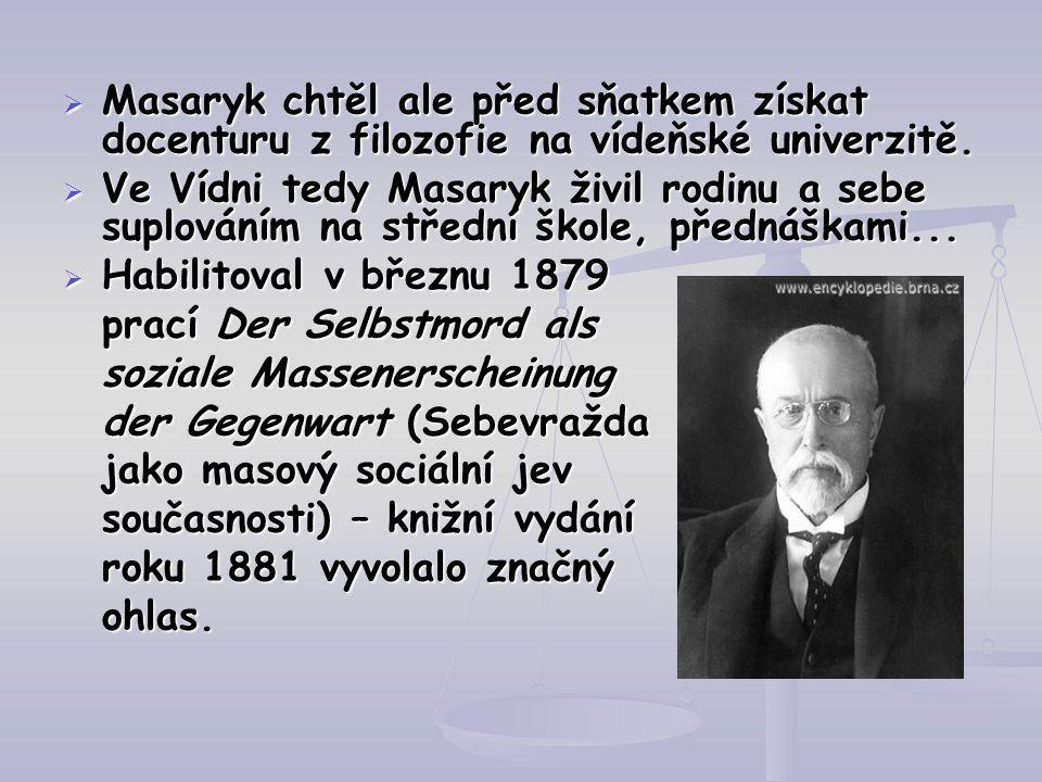  Masaryk chtěl ale před sňatkem získat docenturu z filozofie na vídeňské univerzitě.  Ve Vídni tedy Masaryk živil rodinu a sebe suplováním na středn