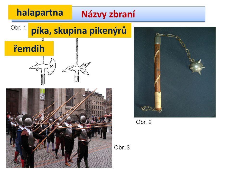 Názvy zbraní Obr. 1 halapartna Obr. 2 řemdih píka, skupina pikenýrů Obr. 3