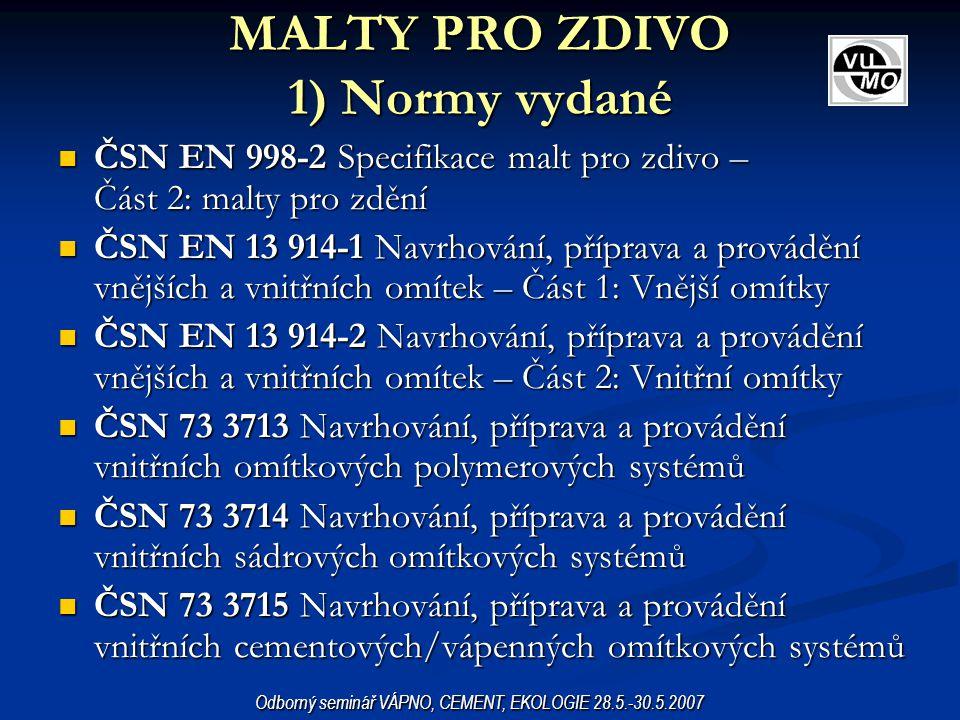 ČSN EN 998-2 Specifikace malt pro zdivo – Část 2: malty pro zdění ČSN EN 998-2 Specifikace malt pro zdivo – Část 2: malty pro zdění ČSN EN 13 914-1 Na