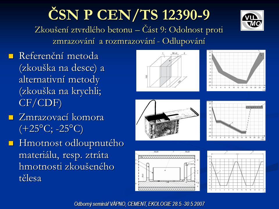 ČSN P CEN/TS 12390-9 Zkoušení ztvrdlého betonu – Část 9: Odolnost proti zmrazování a rozmrazování - Odlupování Referenční metoda (zkouška na desce) a