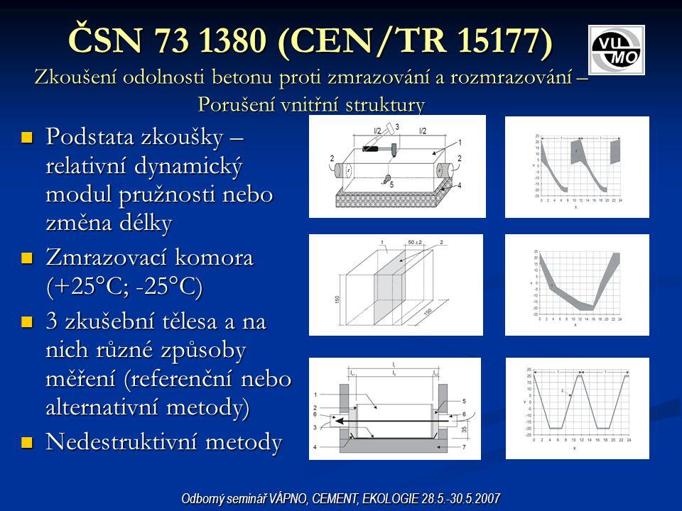 ČSN 73 1380 (CEN/TR 15177) Zkoušení odolnosti betonu proti zmrazování a rozmrazování – Porušení vnitřní struktury Podstata zkoušky – relativní dynamic