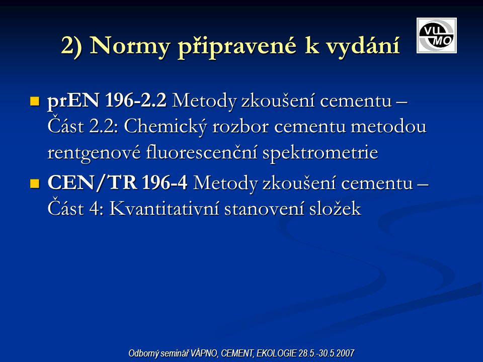 3a) Normy připravované EN 197-1 Cement – Část 1: Složení, specifikace a kritéria shody cementů pro obecná použití, změna prA2 a prA3 EN 197-1 Cement – Část 1: Složení, specifikace a kritéria shody cementů pro obecná použití, změna prA2 a prA3 EN 197-4 Cement – Část 4: Složení, specifikace a kritéria shody vysokopecních cementů s nízkou počáteční pevností, změna prA1 (síranovzdorný vysokopecní cement s nízkou počáteční pevností) EN 197-4 Cement – Část 4: Složení, specifikace a kritéria shody vysokopecních cementů s nízkou počáteční pevností, změna prA1 (síranovzdorný vysokopecní cement s nízkou počáteční pevností) prEN 13282 Hydraulické silniční pojivo prEN 13282 Hydraulické silniční pojivo prEN 15368 Hydraulické stavební pojivo prEN 15368 Hydraulické stavební pojivo prEN xxx Nadsíranový cement – Složení, specifikace a kritéria shody prEN xxx Nadsíranový cement – Složení, specifikace a kritéria shody Odborný seminář VÁPNO, CEMENT, EKOLOGIE 28.5.-30.5.2007
