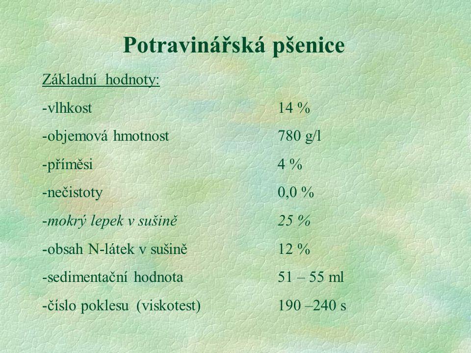 Potravinářská pšenice Základní hodnoty: -vlhkost14 % -objemová hmotnost 780 g/l -příměsi4 % -nečistoty0,0 % -mokrý lepek v sušině25 % -obsah N-látek v sušině12 % -sedimentační hodnota51 – 55 ml -číslo poklesu(viskotest)190 –240 s