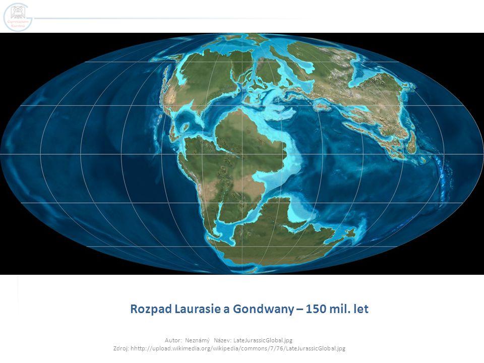 Rozpad Laurasie a Gondwany – 150 mil. let Autor: Neznámý Název: LateJurassicGlobal.jpg Zdroj: hhttp://upload.wikimedia.org/wikipedia/commons/7/76/Late