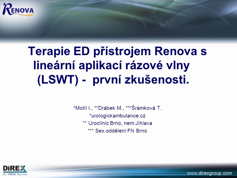 Linear Focused Shockwaves for Erectile Dysfunction with RENOVA – a second generation technology Y.