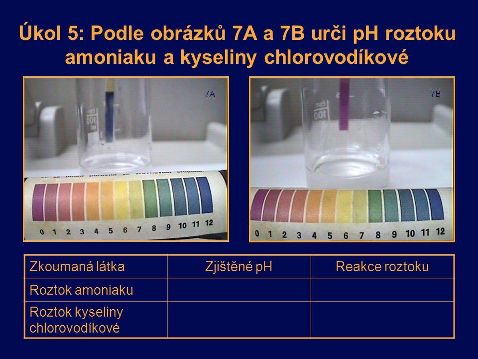 Úkol 5: Podle obrázků 7A a 7B urči pH roztoku amoniaku a kyseliny chlorovodíkové 7A7B Zkoumaná látkaZjištěné pHReakce roztoku Roztok amoniaku Roztok k