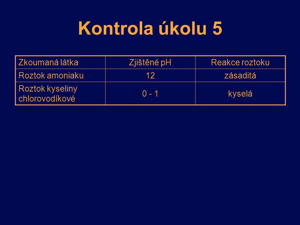 Kontrola úkolu 5 Zkoumaná látkaZjištěné pHReakce roztoku Roztok amoniaku 12zásaditá Roztok kyseliny chlorovodíkové 0 - 1kyselá