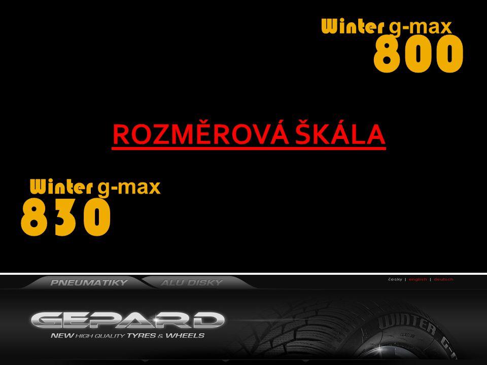 Winter g-max 800 165/70 R13 165/70 R14 175/65 R14 Winter g-max 830 185/60 R14 195/65 R15 205/55 R16 ROZMĚROVÁ ŠKÁLA