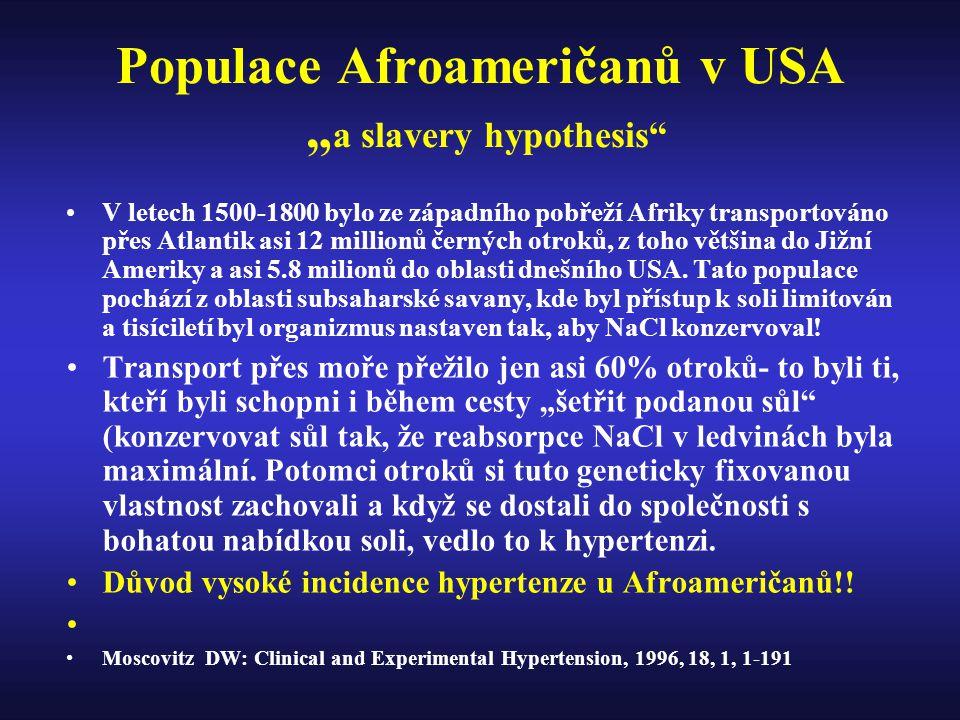"""Populace Afroameričanů v USA """" a slavery hypothesis V letech 1500-1800 bylo ze západního pobřeží Afriky transportováno přes Atlantik asi 12 millionů černých otroků, z toho většina do Jižní Ameriky a asi 5.8 milionů do oblasti dnešního USA."""